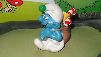 Smurfs Christmas Sack Smurf with Candy Cane Classic Vintage Display Figurine