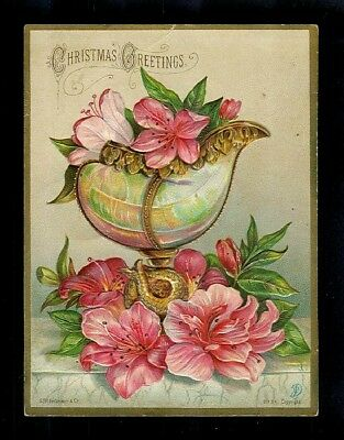 Fine Vase Filled W/ Pink Orchids-Embossed Victorian Christmas Trade Card