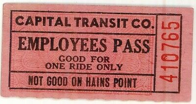 Orig  vintage, Capital Transit Co, Employee Pass (Ticket) - One Ride Only, 2 X 1