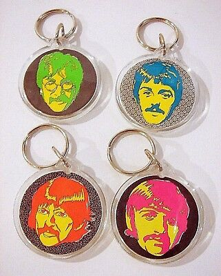 LAST SET! Psychedelic Beatles Keychain Set - Sgt. Pepper Round Keytags