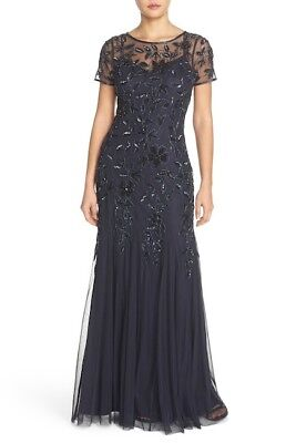 #M824 SZ 8 16 NWT $300 Adrianna Papell Floral Beaded Trumpet Gown Silver