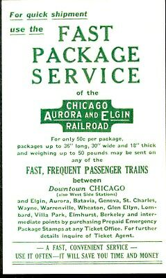 Orig  vintage, Chicago, Aurora & Elgin Ry card advertising for Fast Package Serv
