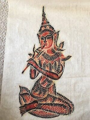 Beautiful Vintage Thailand Thai Temple Rubbing Print - Woman Playing Flute