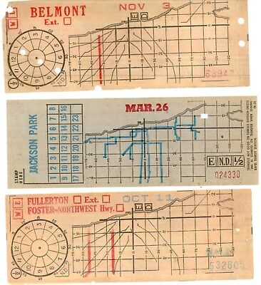 Original, 3 vintage, transfers,  Chicago Transit Authority-Chicago Surface Lines