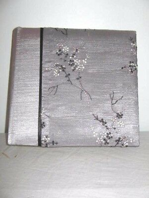 Grey Chiffon Embroidered Flowers Covered Photo Album 18x17cm URL International