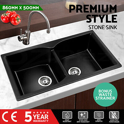 Cefito Kitchen Sink Stone Granite Black Top/Undermount Double Bowl 860x500mm
