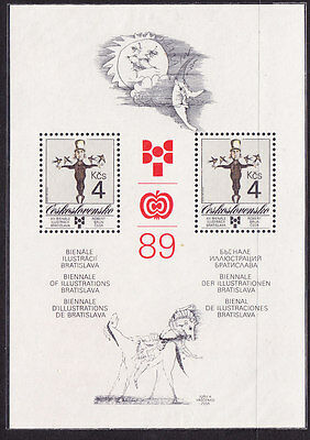 Czechoslovakia 1989 Book Illustrations Miniature Sheet.- MNH