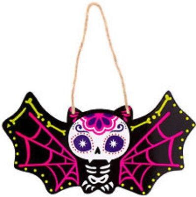 Painted Sugar Skull Day of the Dead Hanging Wall Plaque - BAT Design