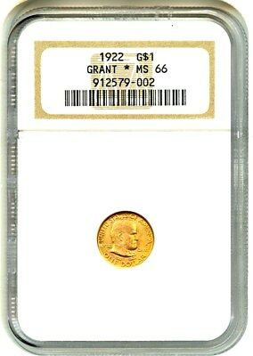 1922 Grant with Star G$1 NGC MS66 - Classic Commemorative - Gold Coin