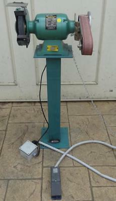 """Abbott Ashby 8"""" Bench Grinder on Pedestal MultiTool Linisher Steute Foot Switch"""