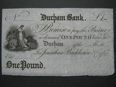 GB Provincial banknote Durham Bank unissued One Pound £1 for J Backhouse UNC