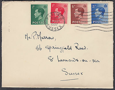1937 KEVIII Set on Cover Dated 15 FEB 1937; Hastings/Sussex M/C: St. Leonards