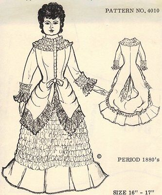"Period DOLL DRESS PATTERN fits 16 - 17"" Victorian German French"