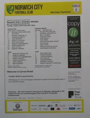 2017/18 Teamsheet. Norwich City v Charlton Athletic. Carabao Cup Round 2.