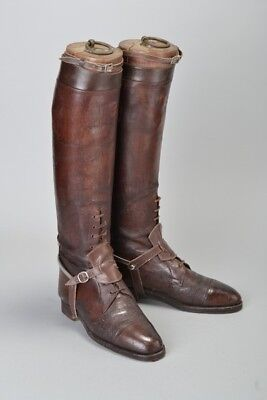 British Army Officers WW1 Leather Field Pattern Riding Boots, Spurs & Trees CGS