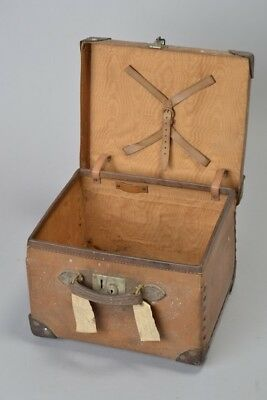 Early C20th Compressed Fibre Hat Box, Capped Leather Corners & Handle. CTK