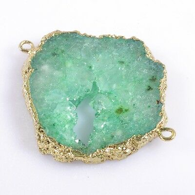 Green Agate Druzy Geode Slice Connector Gold Plated T037381