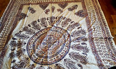 Hand Printed Paisley Cloth Cover Tablecloth Bed Wall Art Textile 280 x 220 Iran
