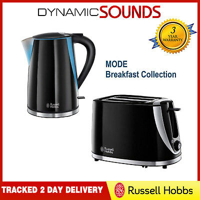 Russell Hobbs Mode Twin Pack 1.7L Kettle & 2 Slice Toaster Black Kitchen Set