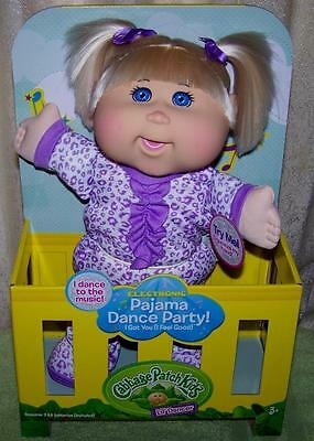 """Cabbage Patch Kids lil' Dancer Electronic Pajama Dance Party 13"""" Blonde Doll New"""