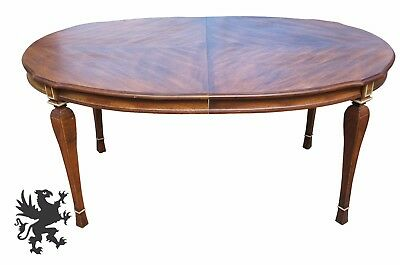 Traditional French Country Provincial Oval Dining Table Distressed Two Leaves