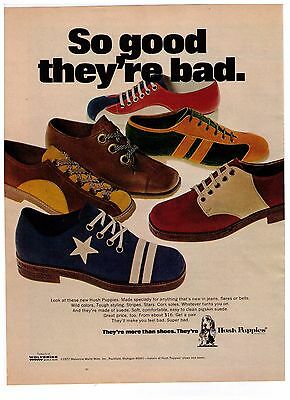 """1972 Hush Puppies """"So Good..They're Bad"""" Vintage Shoe Print Advertisement"""
