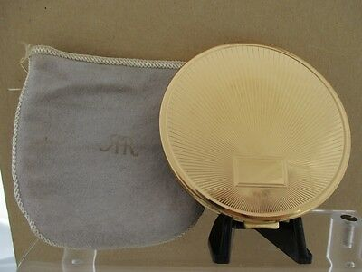 Vintage RICHARD HUDNUT Sunburst Face Powder Compact with signed Puff in Sleeve