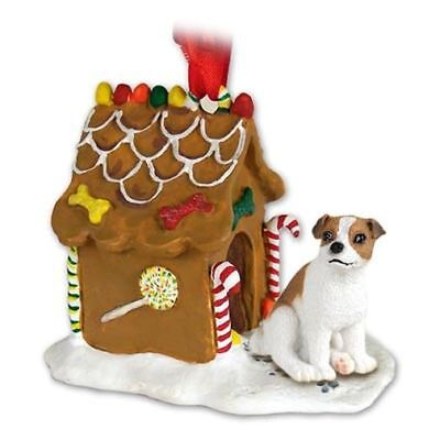 Jack Russell Terrier Brn White Smooth Dog Ginger Bread House Christmas ORNAMENT