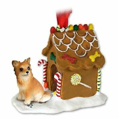 Chihuahua Tan White Longhaired Dog Ginger Bread House Christmas ORNAMENT