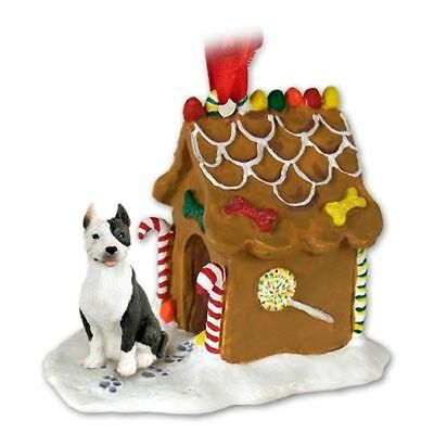 Pit Bull Terrier Brindle Dog Ginger Bread House Christmas ORNAMENT