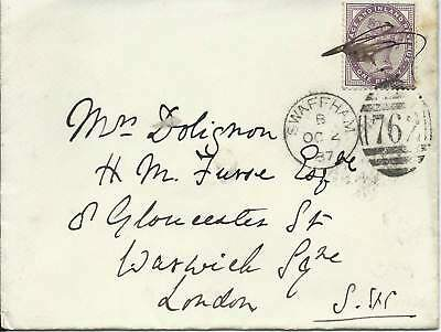 GB 1887 1d Lilac Cover with Swaffham 762 Duplex to London
