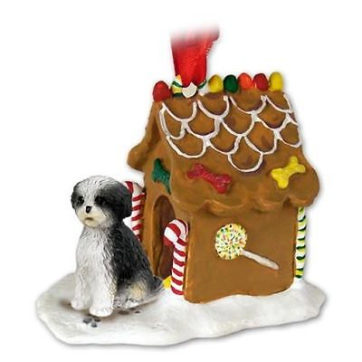 Shih Tzu Black White Puppy Cut Dog Ginger Bread House Christmas ORNAMENT