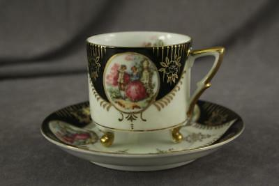 Vintage Japan China ROYAL SEALY RSY44 Footed Can Teacup & Saucer Gold Trim