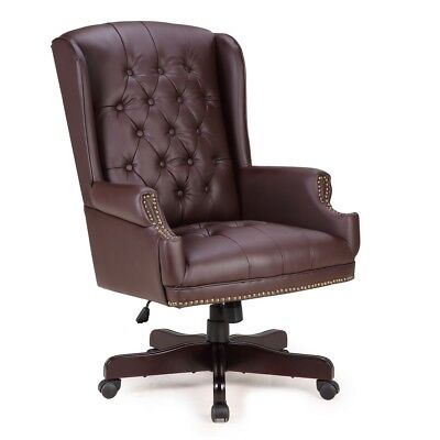 Traditional Executive Wingback Office Chair Button Tufted w/Faux Leather, Brown