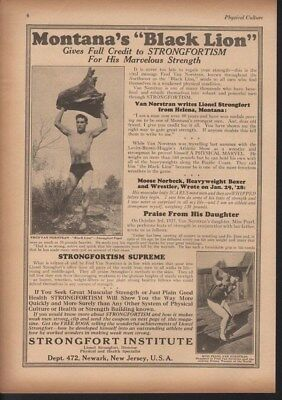 1928 Strongfort Montana Black Lion Fitness Exercise Weights Ad 13981