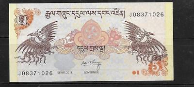 BHUTAN #28b 2011 UNC MINT 5 NGULTRUM  BANKNOTE PAPER MONEY CURRENCY BILL NOTE