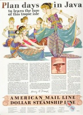 1929 American Mail Line Java Tropic Singapore India Ad12036