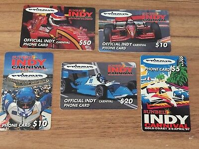 Collectable Phonecards. 5 Indy Racing Car Phonecards