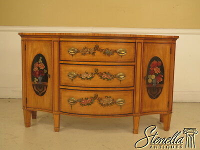 23582E: Adam Satinwood Paint Decorated Commode Or Console Table