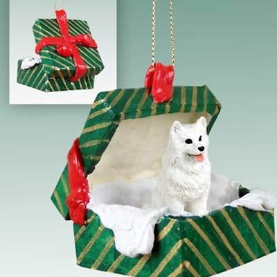 American Eskimo Dog Green Gift Box Holiday Christmas ORNAMENT