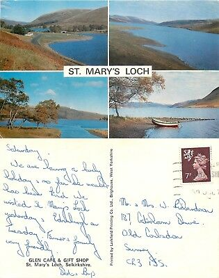 a1422 St Mary's Loch, Selkirkshire, Scotland postcard posted 1978 stamp