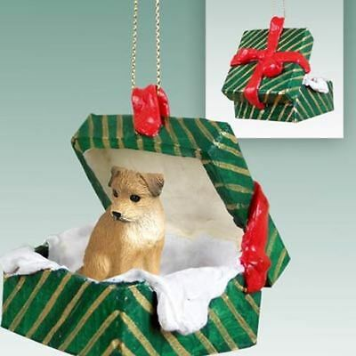 Border Terrier Dog Green Gift Box Holiday Christmas ORNAMENT