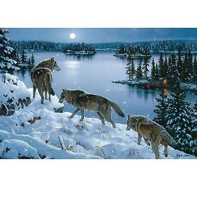 "Rivers Edge LED Wall Art - Nite Wolves 24""x16"" 1784"