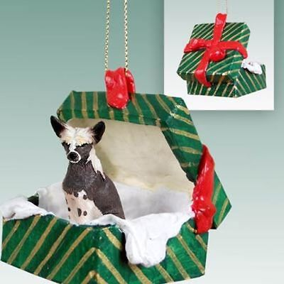 Chinese Crested Dog Green Gift Box Holiday Christmas ORNAMENT
