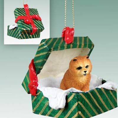 Chow Chow Red Dog Green Gift Box Holiday Christmas ORNAMENT
