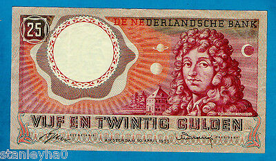 Netherlands P87 25 Gulden CHRISTIAN HUYGENS AT NIGHT 10.04.1955 XF/AU EX RARE