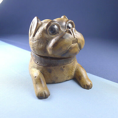 Amazing Black Forest Dog Inkwell / Antique Wood Bulldog