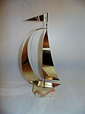 Mid Century Vintage Solid Brass Sailboat Statue on Marble Sailing Water Beachy
