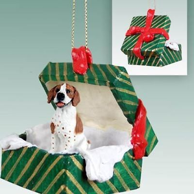 Pointer Brown White Dog Green Gift Box Holiday Christmas ORNAMENT