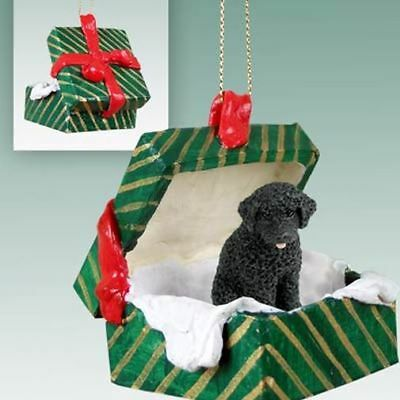 Portuguese Water Dog Dog Green Gift Box Holiday Christmas ORNAMENT